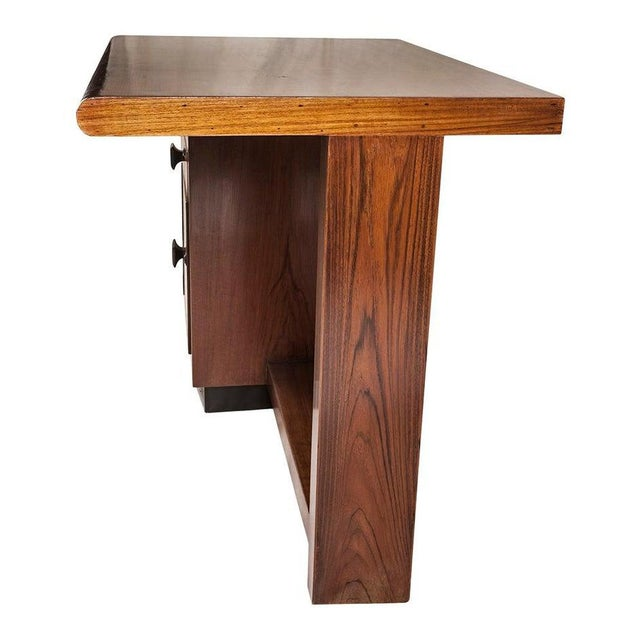 Wood Mid-Century Modern Teak Desk With Ebonized Accents For Sale - Image 7 of 10
