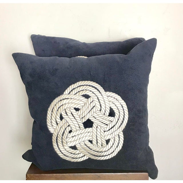Contemporary Navy Knot Design Velvet Pillows - A Pair For Sale - Image 3 of 3