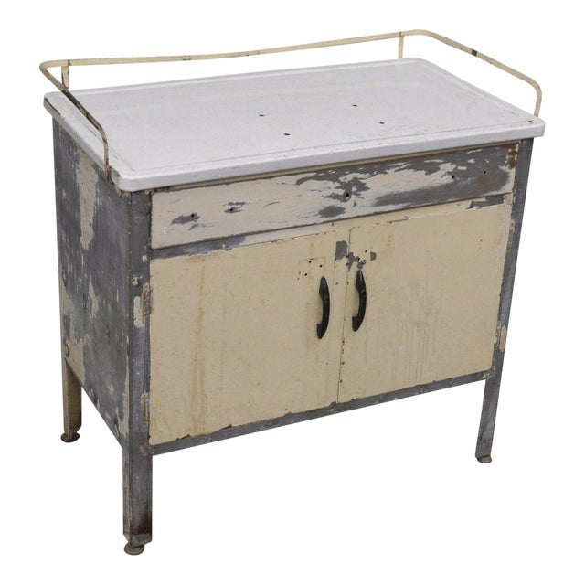 Antique Industrial Steel Metal Enamel Top Medical Cabinet For Sale