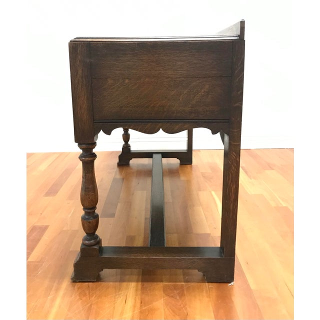 Jacobean Late 19th Century English Jacobean Tudor Silverware Chest Server Quartern Sawn Oak For Sale - Image 3 of 13
