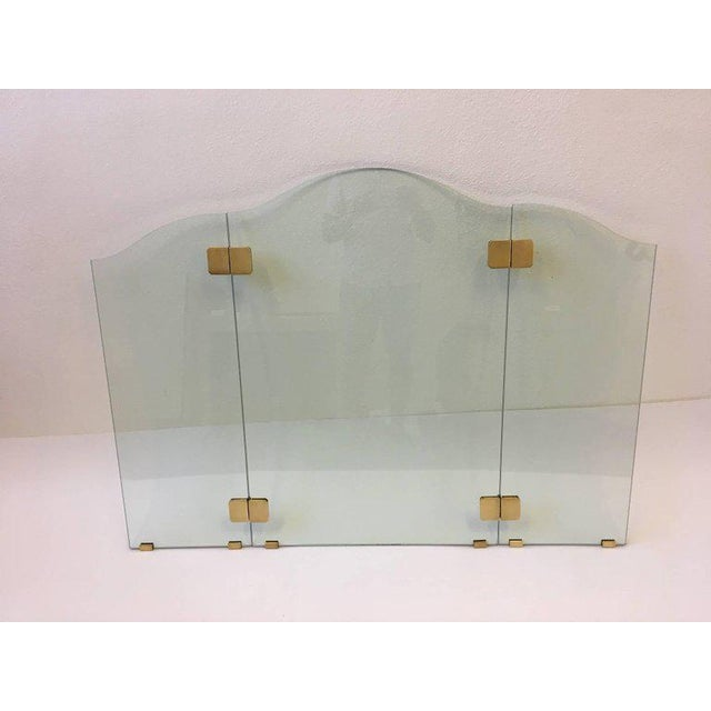 Pace Brass and Glass Fireplace Screen by Pace For Sale - Image 4 of 7