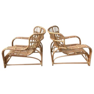 Pair of Midcentury Rattan Scoop Chairs, Restored For Sale