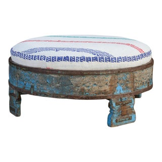 Charming Carved Chakki Ottoman With Kantha Upholstery For Sale