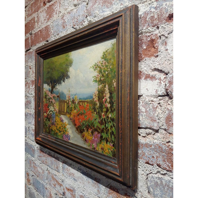 Pink William Constable Adam-Beautiful Flower Garden With Gate -Oil Painting-1900s For Sale - Image 8 of 10