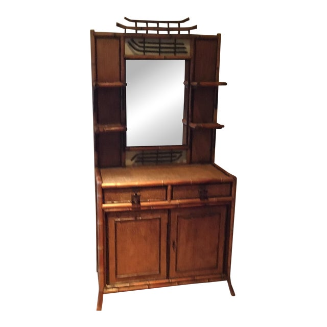 1940s Boho Chic Bamboo Hutch For Sale