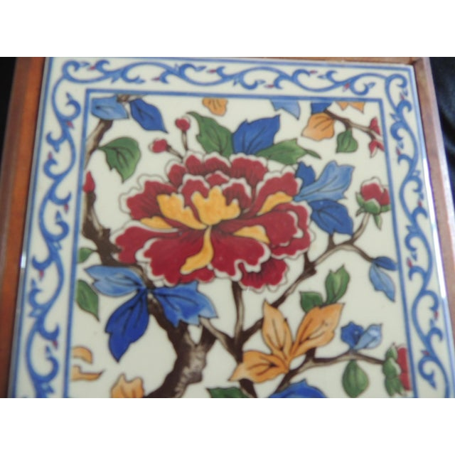 Islamic Hand Painted Ceramic Persian Tile Trivet Inset in Wooden Frame For Sale - Image 3 of 5