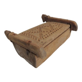 Vintage Indian Market Hand Carved Wooden Box With Lid and Carving Details For Sale