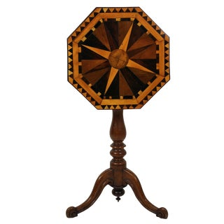 English Geometric Marquetry Side Table