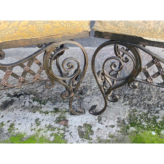 Pair Of 1900's French Iron Benches With Trelice Rosette Motif For Sale - Image 11 of 13