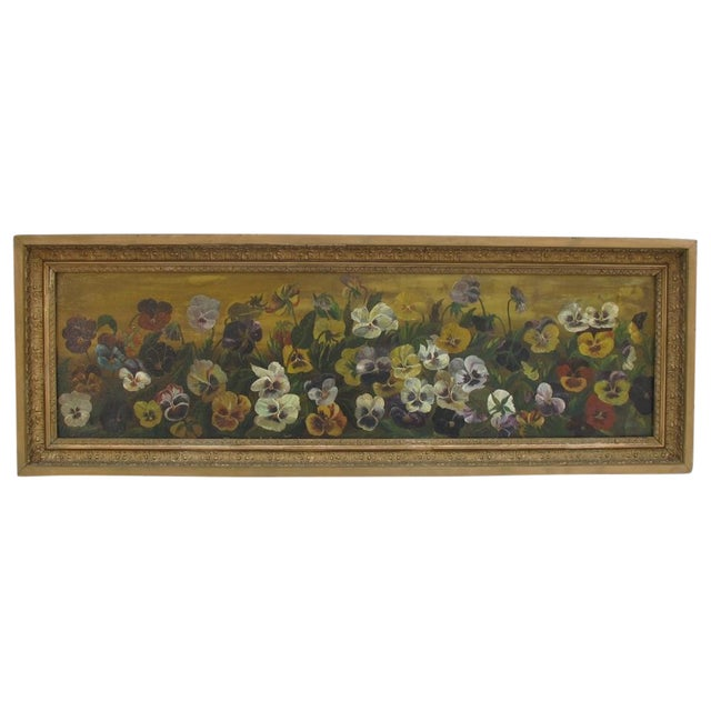 Framed Pansies Oil Painting - Image 1 of 10