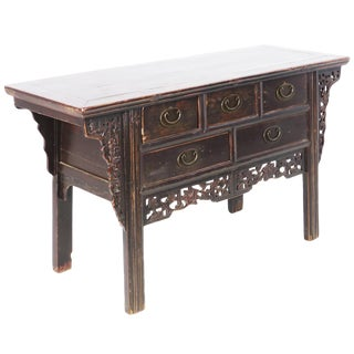"""19th Century Chinese 57"""" Long Elm Dark Brown Lacquer 5 Drawer Buffet Table For Sale"""