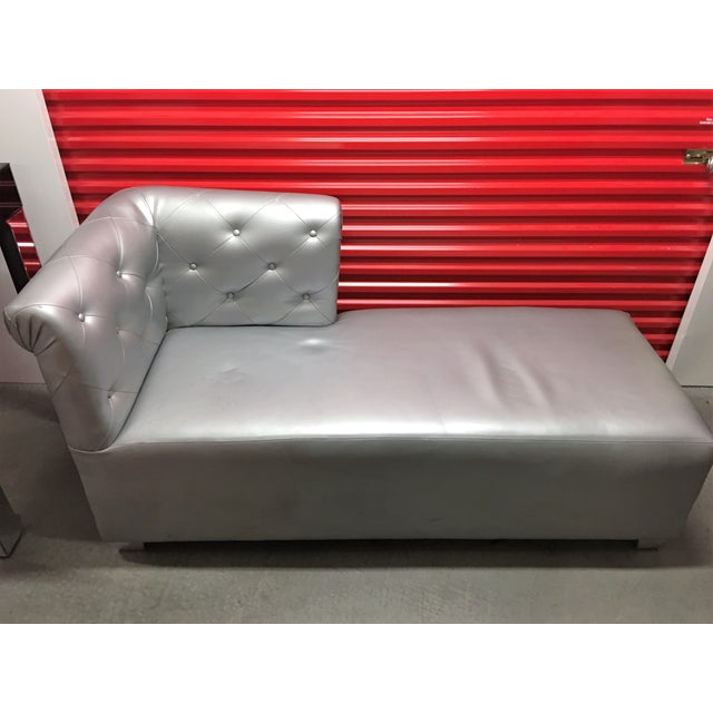 Silver Tufted Vinyl Chaise Lounge - Image 3 of 7