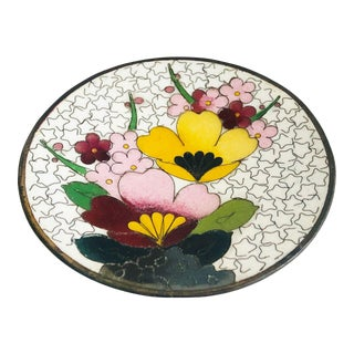 Small Floral Vintage Enamel Dish For Sale