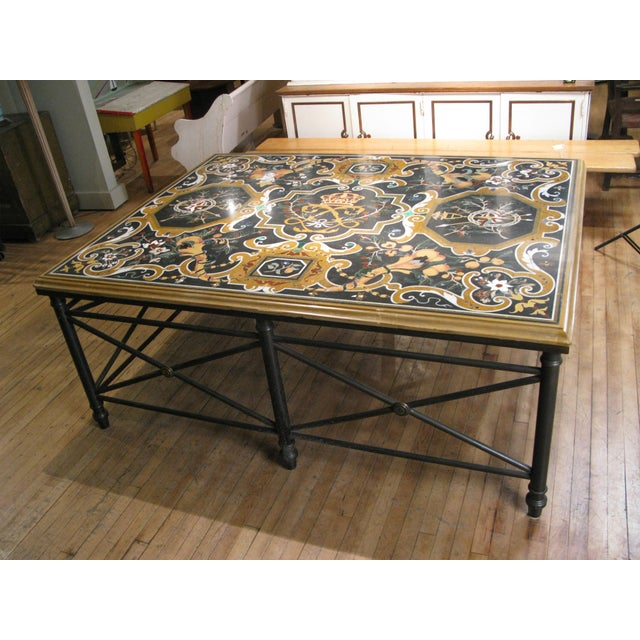 Metal Italian Pietra Dura Inlaid Stone Table For Sale - Image 7 of 9