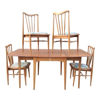 Mid-Century Pecan Dining Set by Marden Manufacturing Marked Union Made For Sale