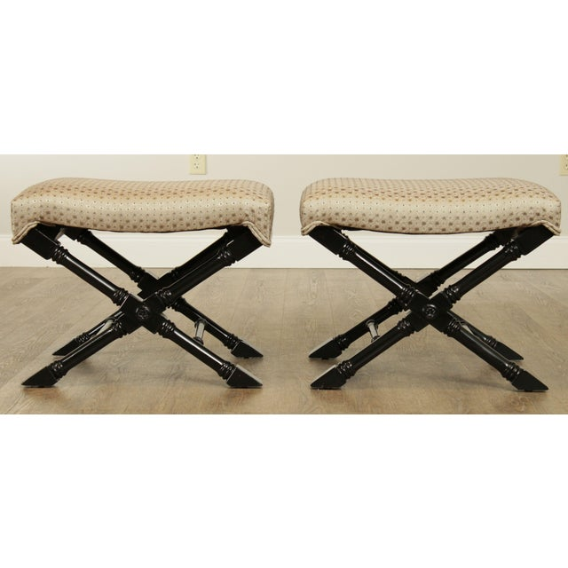 Traditional Regency Style Black Lacquered Pair X Benches For Sale - Image 3 of 13