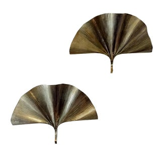 1960s Asian ModernTommaso Barbi Brass Ginkgo Sconces - a Pair For Sale