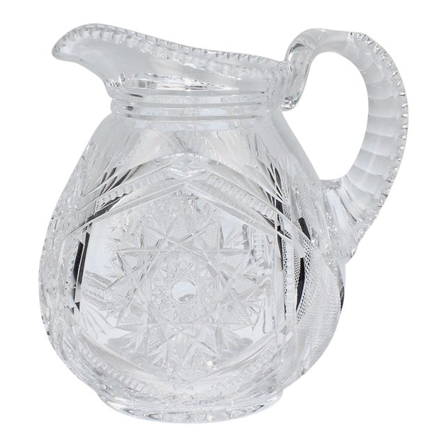 Fine Vintage Cut Glass Pitcher with a Narrow Body For Sale