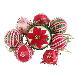1970s Americana Beaded Christmas Ornaments - Set of 8 For Sale