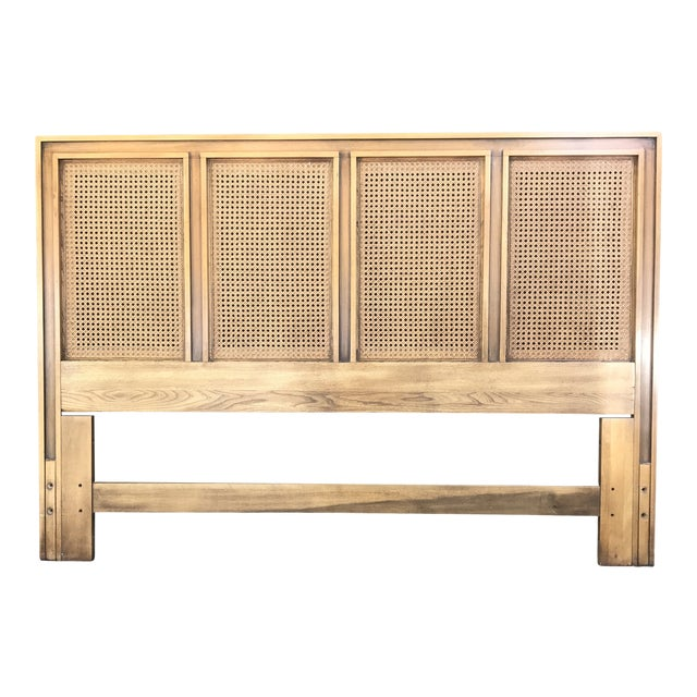 Mid Century Walnut Caned Queen Headboard For Sale