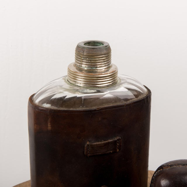 Art Deco 1920s Art Deco Leather & Glass Flask Chrome Cup For Sale - Image 3 of 6