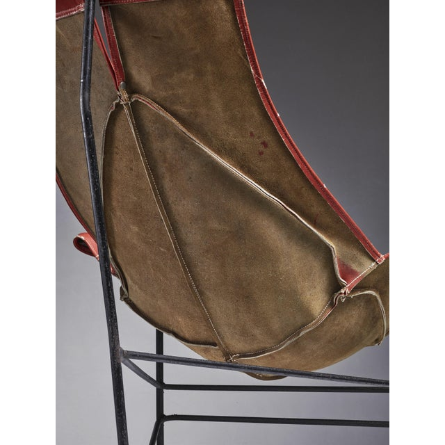 1960s Leathercrafter Sling Chair in Brown Leather on Tri-Leg Base, USA, 1960s For Sale - Image 5 of 5