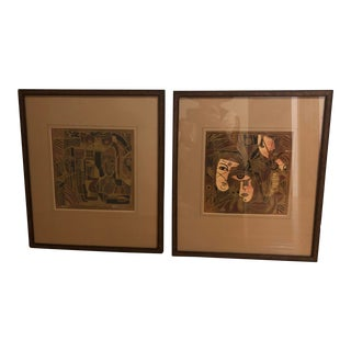 c.t. Wong Signed and Numbered Graphic Artwork in Frames - a Pair For Sale