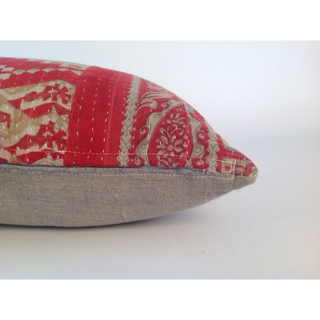 Vintage Block Print Kantha Quilt Pillows - A Pair For Sale - Image 4 of 4