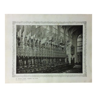 """1906 """"St. Georges Chapel - Windsor - the Choir"""" Famous View of London Print For Sale"""