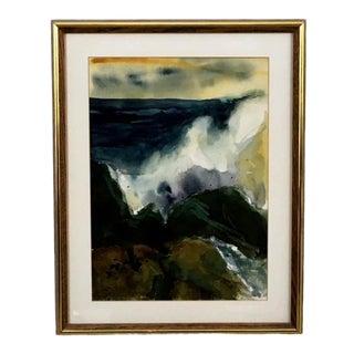 "1977 Vintage La Turnu ""Crashing Waves"" Signed Watercolor Painting For Sale"