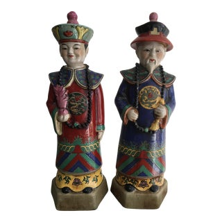 Late 20th Century Vintage Chinese Emperor Figures - a Pair For Sale