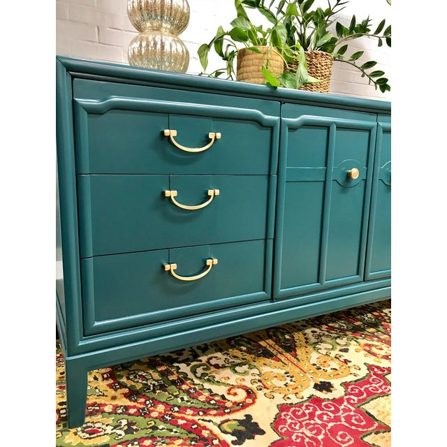 1960s Hollywood Regency Drexel Teal Jewel Tone Buffet For Sale - Image 6 of 8