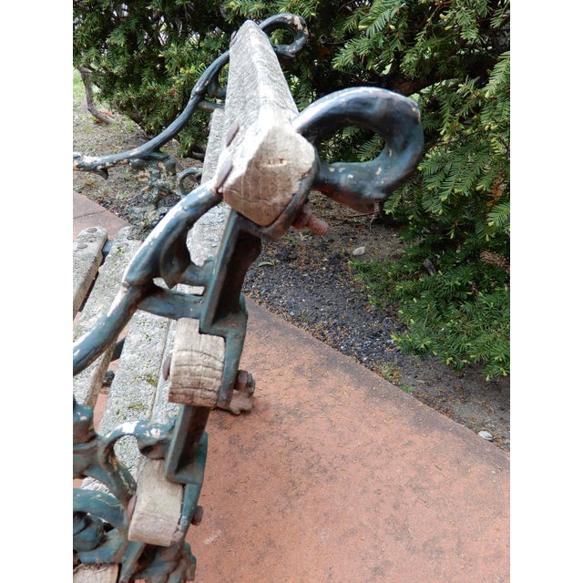 Victorian Coalbrookdale Antique Cast Iron Garden Chair For Sale - Image 3 of 9