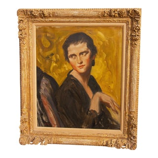 """Portrait Painting of """"Vivienne"""" by Albert Sterner 1929 For Sale"""
