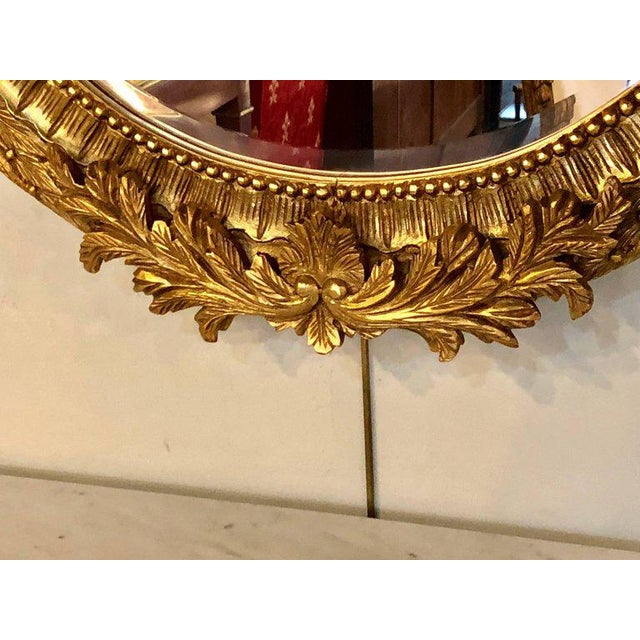 Giltwood Fine Antique French Oval Gilt Wooden Wall or Console Mirror For Sale - Image 7 of 9