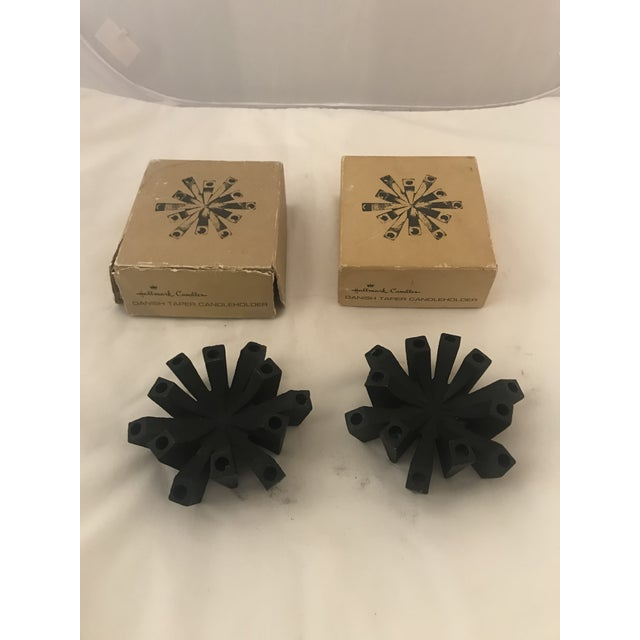Metal Pair of Vintage Hallmark Danish Candle Holders For Sale - Image 7 of 7