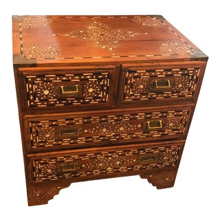 Ornately Inlaid Teak Chest/Side Table, India For Sale