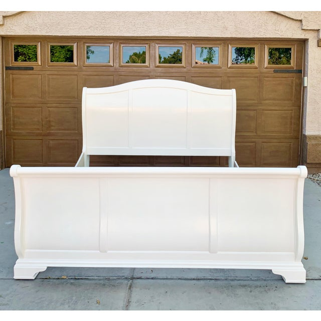 Wood Solid Cherry King Size Sleigh Bed in Linen White For Sale - Image 7 of 8