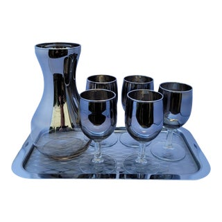 1960s Dorothy Thorpe Style Silver Fade Apertif Dessert Wine Goblets, Carafe, and Tray Set - 7 Pieces For Sale