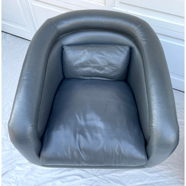 Postmodern Postmodern Leon Rosen Style Swivel Tub Chairs - a Pair For Sale - Image 3 of 13