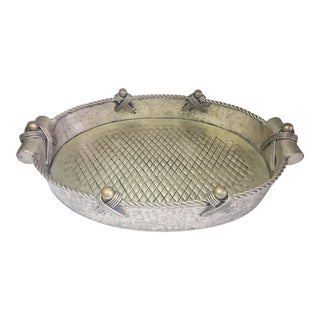 Vintage John Richard Collection Silver Plate Hammered Serving Tray For Sale