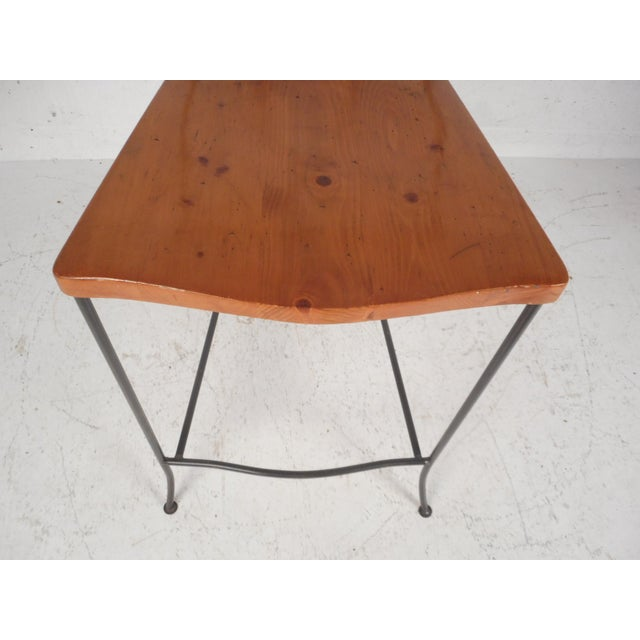 Set of Four Mid-Century Iron and Wood Bar Stools For Sale In New York - Image 6 of 12