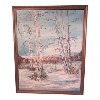 1960s Vintage Original Oil on Board White Birch Trees Landscape Painting For Sale