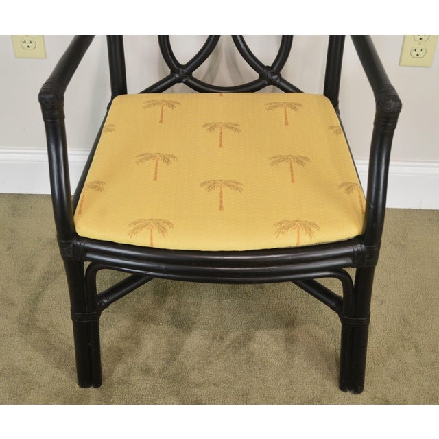 Black McGuire Style Set 8 Black Rattan Bamboo Dining Chairs For Sale - Image 8 of 13
