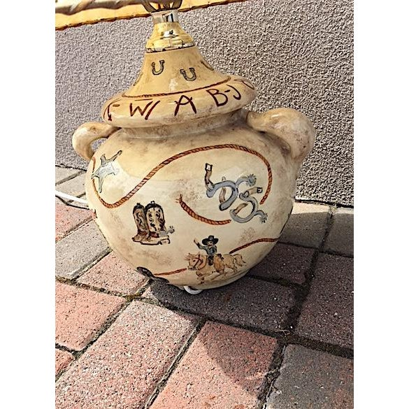 Hand Painted Western Table Lamp For Sale - Image 4 of 8