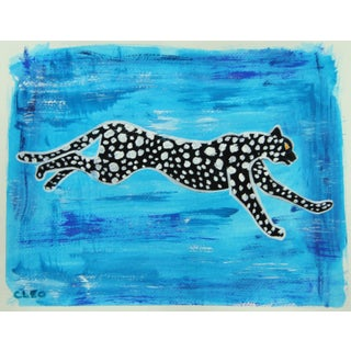 Chinoiserie Leopard Cheetah Leaping Painting by Cleo Plowden For Sale