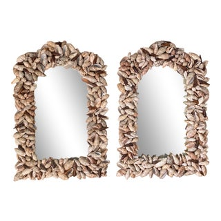 Mid Century Seashell Arched Shell Encrusted Mirrors- a Pair For Sale