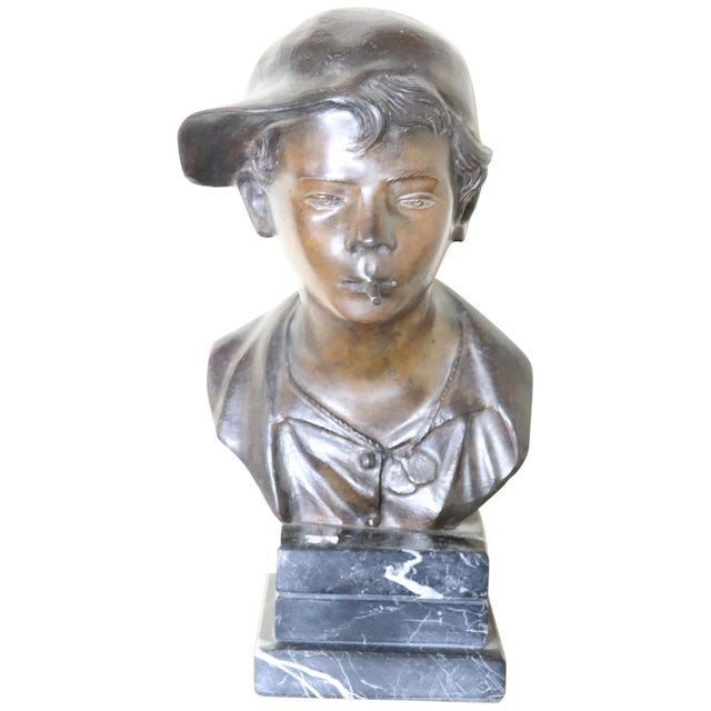 19th Century Italian Sculpture in Bronze Young Boy Signed G. De Martino For Sale - Image 9 of 9