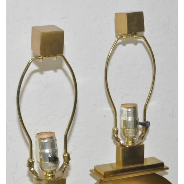 Pair of Robert Abbey Vintage Brass & Marble Table Lamps For Sale In San Francisco - Image 6 of 7