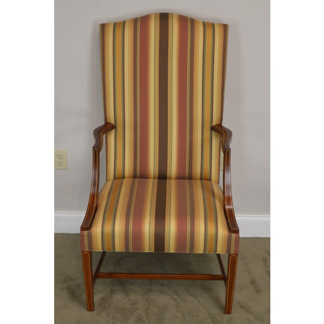 Hepplewhite Stickley Colonial Williamsburg Collection Mahogany Martha Washington Lolling Arm Chair For Sale - Image 3 of 13